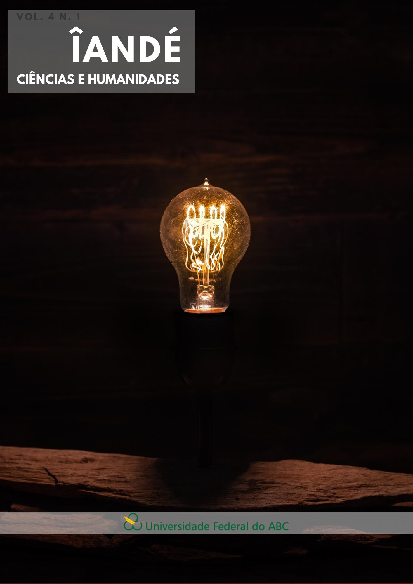 A imagem é de uma lâmpada acesa. No canto esquerdo há o nome da revista ÎANDÉ - Ciências e Humanidades, volume 4 e número 1. Na parte inferior há o logo da Universidade Federal do ABC.